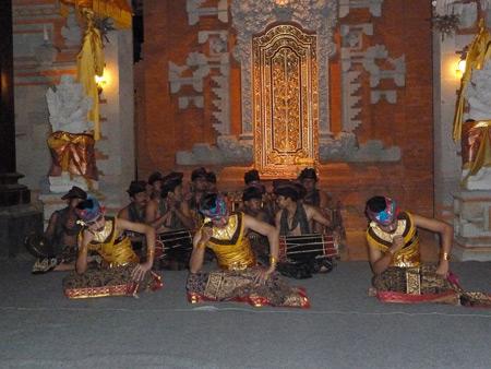 Tetamian performs the Janger dance at Pura Agung Peliatan in Peliatan, Bali, Indonesia.