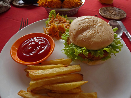 A veggie burger and fries at Bumbu Bali in Ubud, Bali, Indonesia.