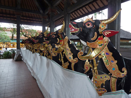 Some decorative bulls for the upcoming royal cremation ceremony in Ubud Palace in Ubud, Bali, Indonesia.