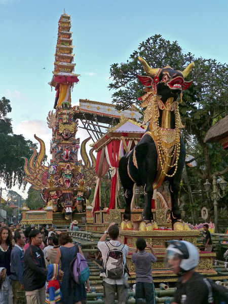 The completed bull and tower for the royal cremation ceremony in Ubud, Bali, Indonesia.