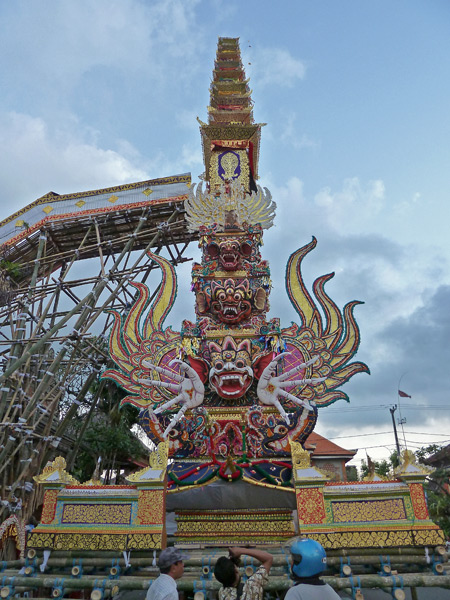 A back view of the completed tower for the royal cremation ceremony in Ubud, Bali, Indonesia.