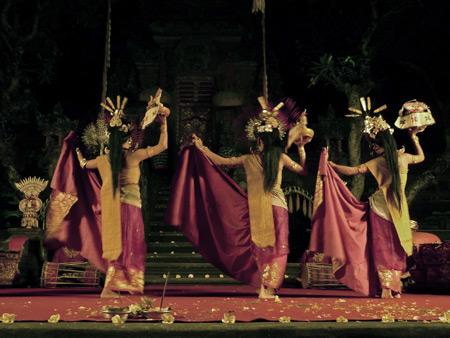 Chandra Wirabhuana performs the Penyambutan dance at the Lotus Pond in Ubud, Bali, Indonesia.