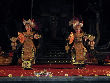 Chandra Wirabhuana performs the Legong Semarandhana dance at the Lotus Pond in Ubud, Bali, Indonesia.