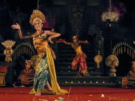 Chandra Wirabhuana performs the Oleg Tambulilingan dance at the Lotus Pond in Ubud, Bali, Indonesia.