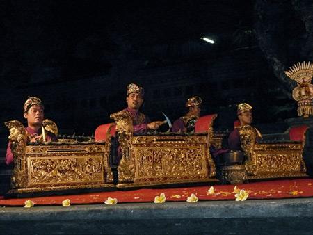 The Chandra Wirabhuana gamelan performs at the Lotus Pond in Ubud, Bali, Indonesia.