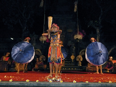 Chandra Wirabhuana performs the Satya Brasta dance at the Lotus Pond in Ubud, Bali, Indonesia.