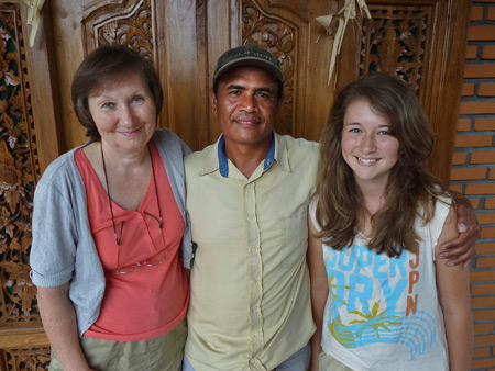 Elena, Nyoman and Katia at Suartha Pension in Ubud, Bali, Indonesia.