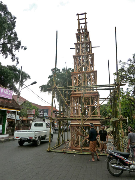 Under construction: the tower for the upcoming royal cremation ceremony in Ubud, Bali, Indonesia.