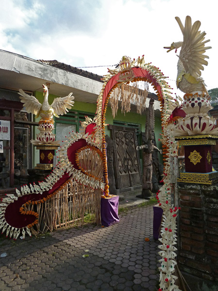 Oh, look! A family temple gate got all dolled up for a ceremony in Ubud, Bali, Indonesia.
