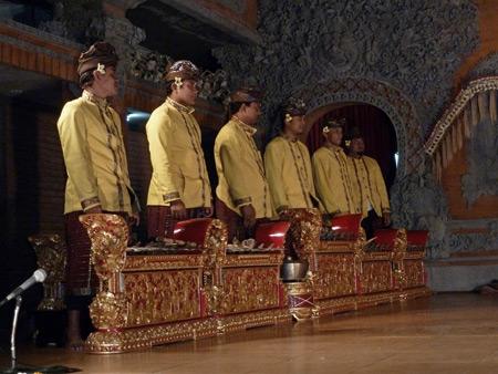 Gamelan Nritta Dewi at Bale Banjar Ubud Kelod in Ubud, Bali, Indonesia.