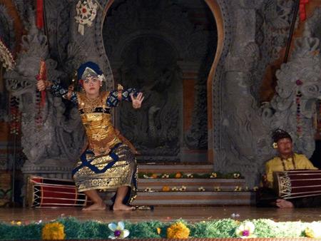 Gamelan Nritta Dewi performs the Kebyar Gandrung dance at Bale Banjar Ubud Kelod in Ubud, Bali, Indonesia.