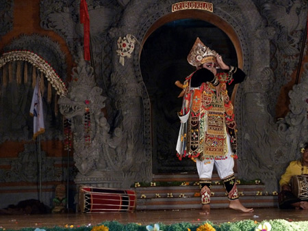 Gamelan Nritta Dewi performs the Baris dance at Bale Banjar Ubud Kelod in Ubud, Bali, Indonesia.