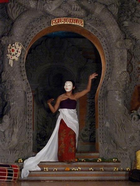 Gamelan Nritta Dewi performs a topeng dance at Bale Banjar Ubud Kelod in Ubud, Bali, Indonesia.