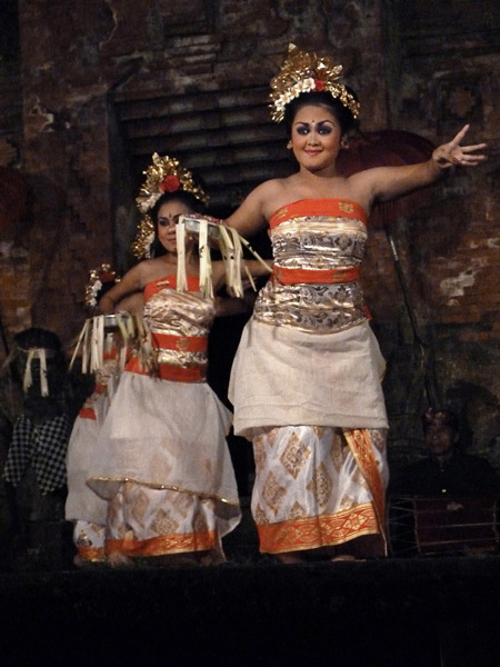 The Peliatan Masters perform the Pendet dance at the Agung Rai Museum of Art in Ubud, Bali, Indonesia.