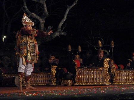 The Peliatan Masters perform the Baris dance at the Agung Rai Museum of Art in Ubud, Bali, Indonesia.