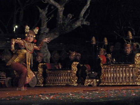 The Peliatan Masters perform the Legong Lasem dance at the Agung Rai Museum of Art in Ubud, Bali, Indonesia.