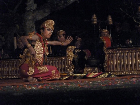 The Peliatan Masters perform the Kebyar Duduk dance at the Agung Rai Museum of Art in Ubud, Bali, Indonesia.