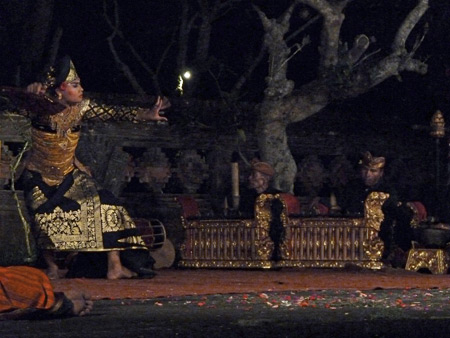 The Peliatan Masters perform the Taruna Jaya dance at the Agung Rai Museum of Art in Ubud, Bali, Indonesia.