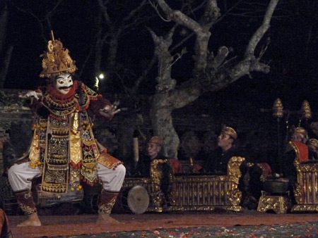 The Peliatan Masters perform the Jauk dance at the Agung Rai Museum of Art in Ubud, Bali, Indonesia.