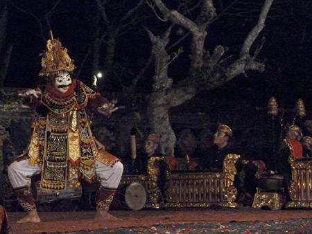 The Peliatan Masters perform the Jauk dance at the Agung Rai Museum of Art in Ubud, Bali, Indonesia.