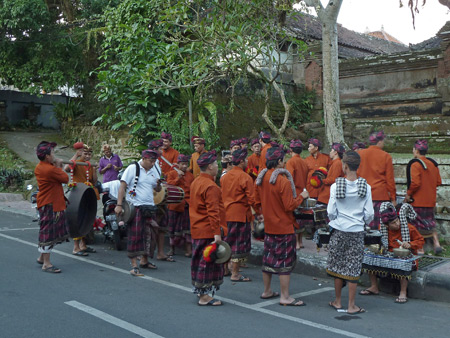 The gamelan for the Ubud royal family prepares for a short procession at Pura Marajan Agung in Ubud, Bali, Indonesia.