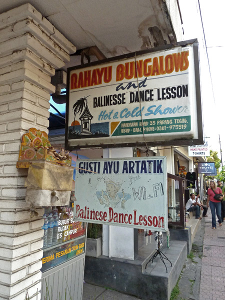 A sign for traditional Balinese dance lessons at Rahayu Bungalows in Ubud, Bali, Indonesia.