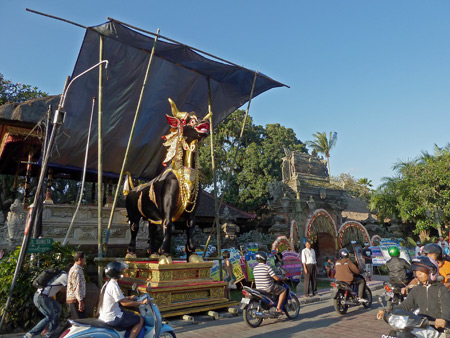 The giant bull for the royal cremation ceremony at Ubud Palace in Ubud, Bali, Indonesia.