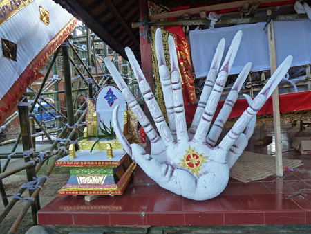 Gimme five! Decorations for the royal cremation ceremony at Ubud Palace in Ubud, Bali, Indonesia.