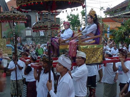 The next generation of royalty prepares to enter Ubud Palace in Ubud, Bali, Indonesia.