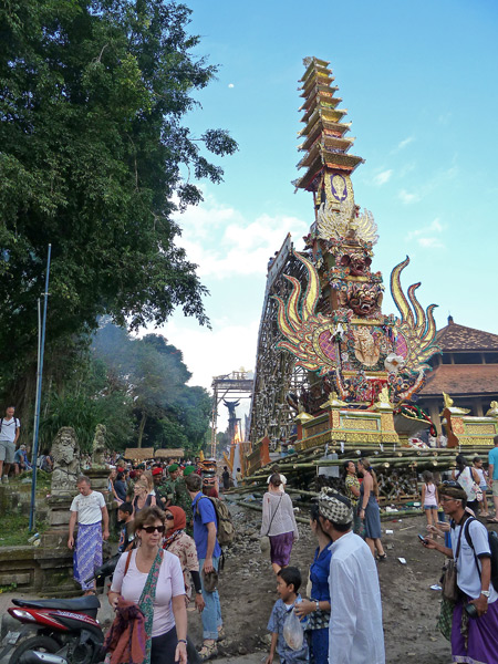 An overview of the royal cremation ceremony at Pura Dalem Puri in Ubud, Bali, Indonesia.