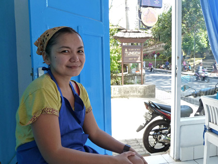 The lady from Jakarta who runs a small pizza joint in Ubud, Bali, Indonesia.