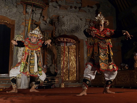 Sekaa Gong Jaya Swara performs the Baris Group dance at Ubud Palace in Ubud, Bali, Indonesia.
