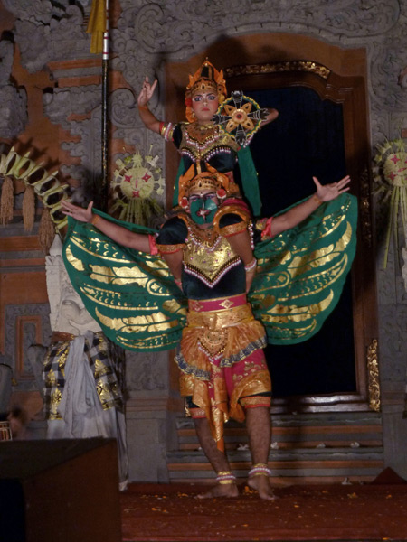 Sekaa Gong Jaya Swara performs the Double Decker Windmill dance at Ubud Palace in Ubud, Bali, Indonesia.