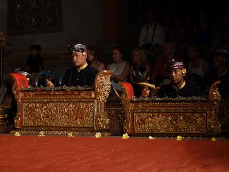 The Sekehe Gong Panca Artha gamelan performs at Ubud Palace in Ubud, Bali, Indonesia.