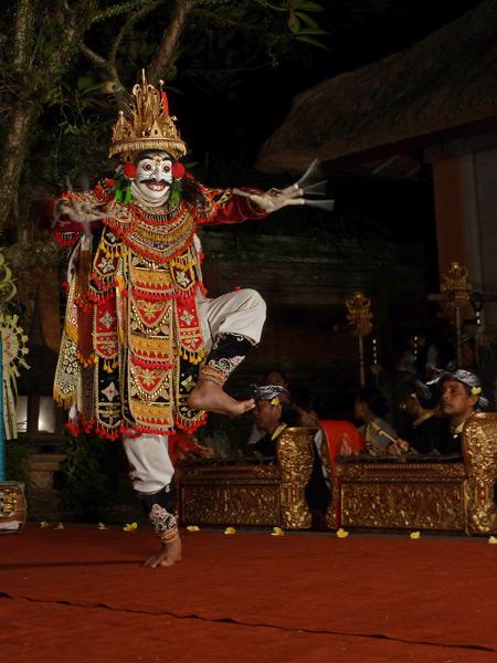 Sekehe Gong Panca Artha performs the Jauk dance at Ubud Palace in Ubud, Bali, Indonesia.