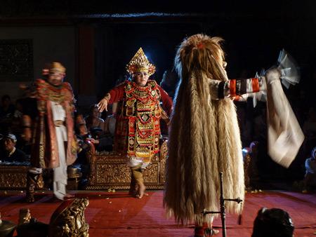 Sekehe Gong Panca Artha performs the Ballet of Bimanlu dance at Ubud Palace in Ubud, Bali, Indonesia.