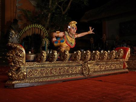 Sekehe Gong Panca Artha performs the Kebyar Trompong dance at Ubud Palace in Ubud, Bali, Indonesia.