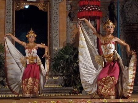 Sekaa Jegog Yowana Swara Ubud performs the Belibus dance at Pura Dalem Ubud in Ubud, Bali, Indonesia.