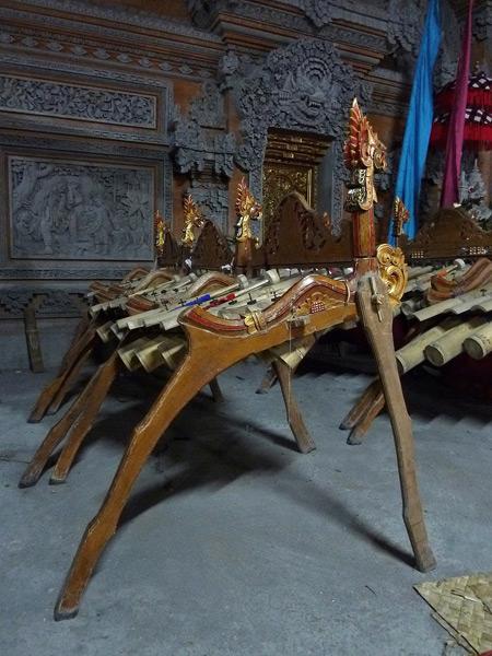 Sekaa Jegog Yowana Swara Ubud bamboo gamelan at Pura Dalem Ubud in Ubud, Bali, Indonesia.