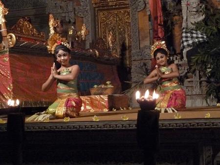 Sekaa Jegog Yowana Swara Ubud performs the Pendet dance at Pura Dalem Ubud in Ubud, Bali, Indonesia.