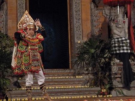 Sekaa Jegog Yowana Swara Ubud performs the Baris dance at Pura Dalem Ubud in Ubud, Bali, Indonesia.