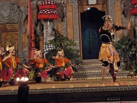 Sekaa Jegog Yowana Swara Ubud performs the Mekepung dance at Pura Dalem Ubud in Ubud, Bali, Indonesia.