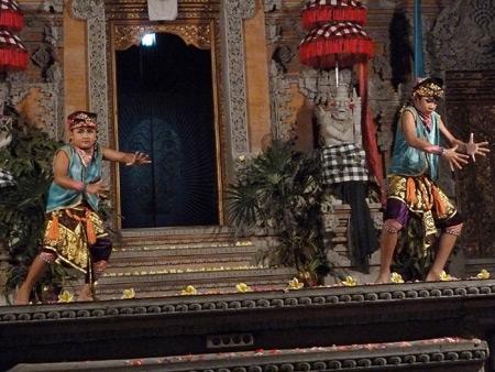 Sekaa Jegog Yowana Swara Ubud performs the Gopola dance at Pura Dalem Ubud in Ubud, Bali, Indonesia.