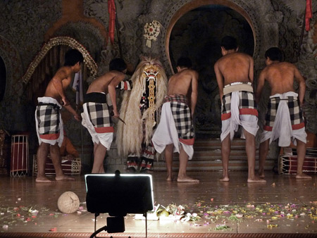 Sanggar Suwara Guni Kanti performs the Barong Waksira dance at Bale Banjar Ubud Kelod in Ubud, Bali, Indonesia.