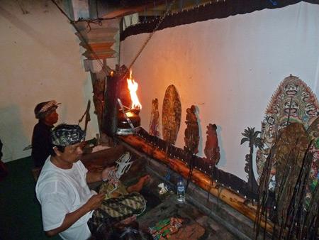 A Wayang Kulit performance at Oka Kartini in Ubud, Bali, Indonesia.