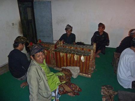 The gamelan players of the Wayang Kulit performance at Oka Kartini in Ubud, Bali, Indonesia.
