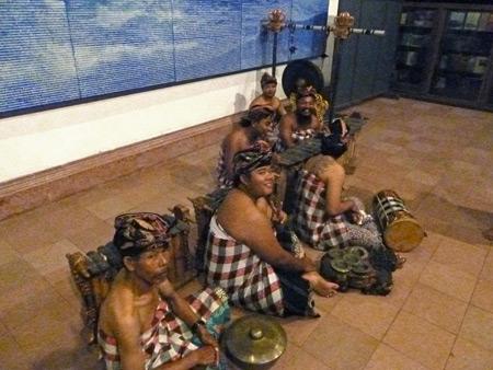 The gamelan at a Wayang Wong Ramayana performance at ARMA in Ubud, Bali, Indonesia.