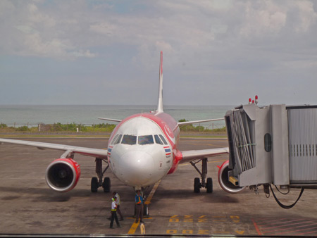 The Air Asia jet finally showed up 30 minutes late at Ngurah Rai airport in Bali, Indonesia.