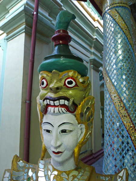 Good and evil show their faces at Shwekyimyint in Mandalay, Myanmar.