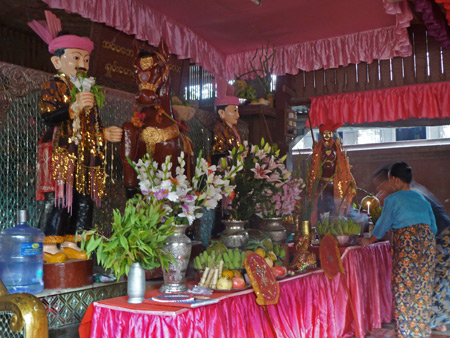 A shrine for the Taungbyone brothers at the Nat Pwe in Taungbyone, Myanmar.